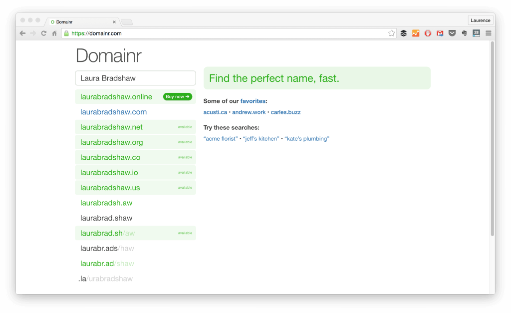 Use Domainr to Find Good Domains for Your Freelance Portfolio Website