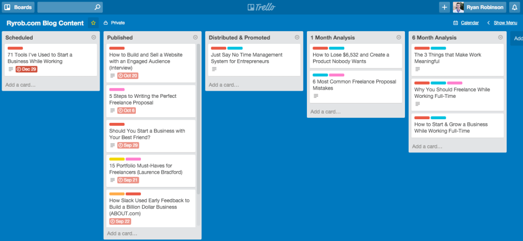Trello Online Business Tool for Launching a Profitable Side Business on ryrob Ryan Robinson