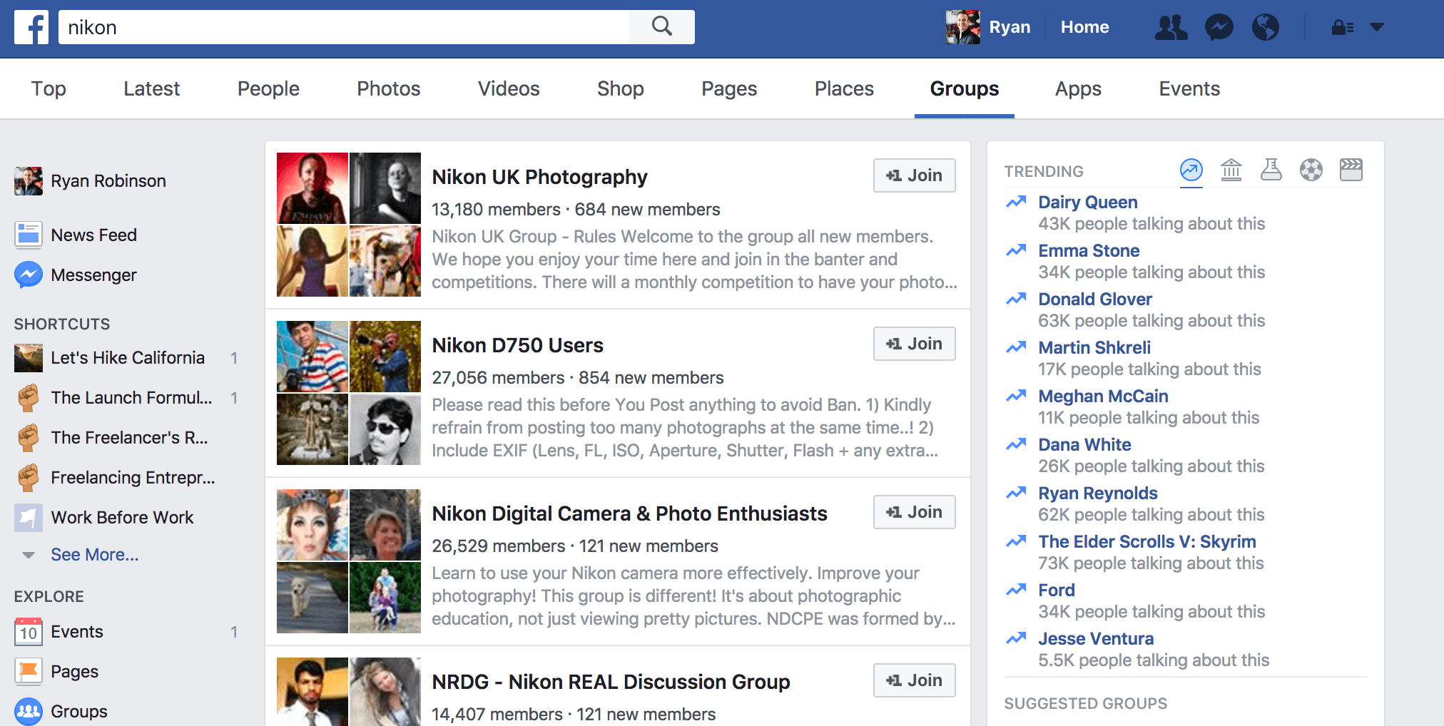 Screenshot and Example of Using Facebook Groups to Promote Your Blog