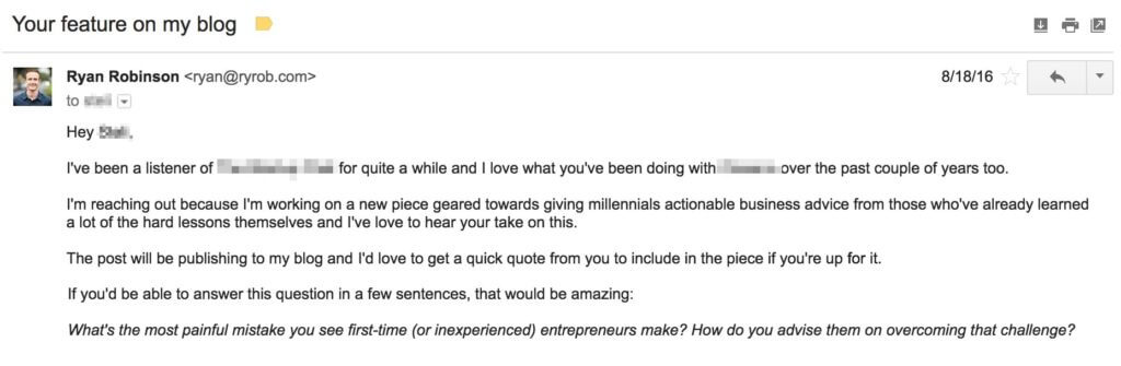 Cold Email Example for Freelancers Ryan Robinson ryrob feature on my blog