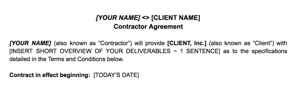 Freelance Contract Heading And Basic Details
