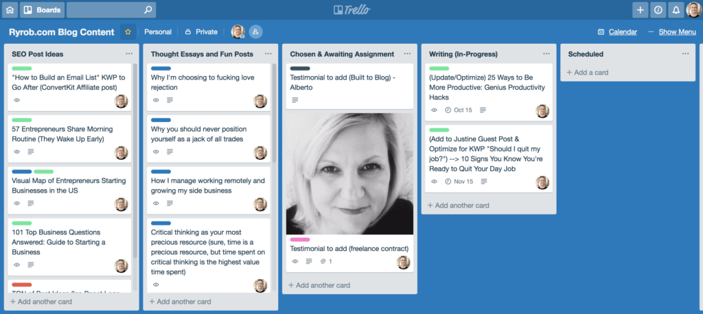 Trello Content Calendar Tool to Use When You're Learning to Grow Your Blog Content