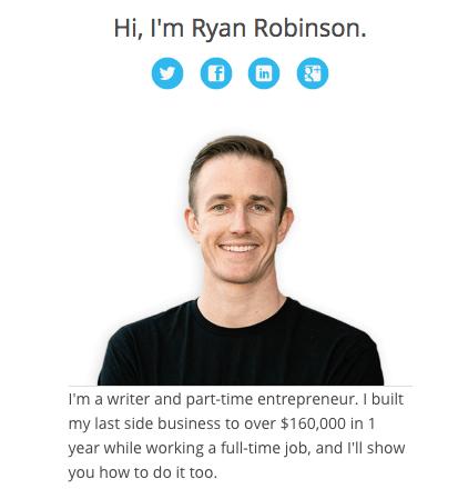 Ryan Robinson's Blog Sidebar Example of Author Bio (Screenshot)