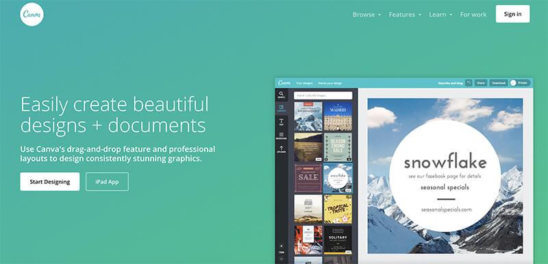 Canva (Homepage Screenshot) Tool for Creating Beautiful Blog Designs