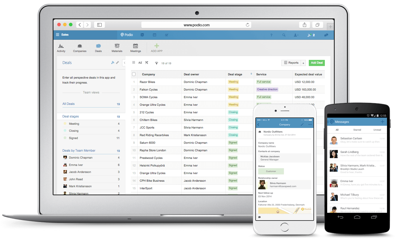 Best CRM for Small Business Startups podio