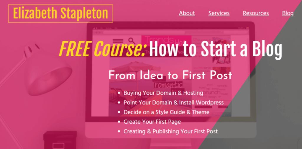 I migliori corsi di blogging per i blogger principianti Il corso di blogging di Elizabeth Stapleton