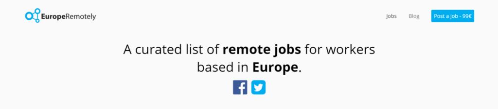Аддаленыя сайты вакансій EuropeRemotely