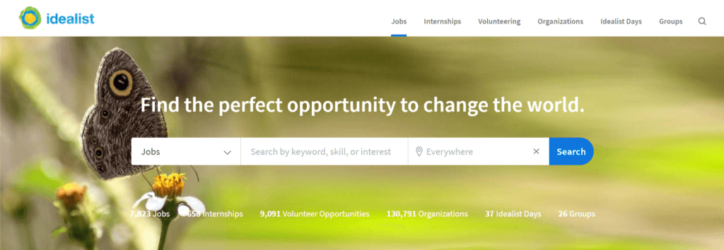 Idealist Homepage Screenshot