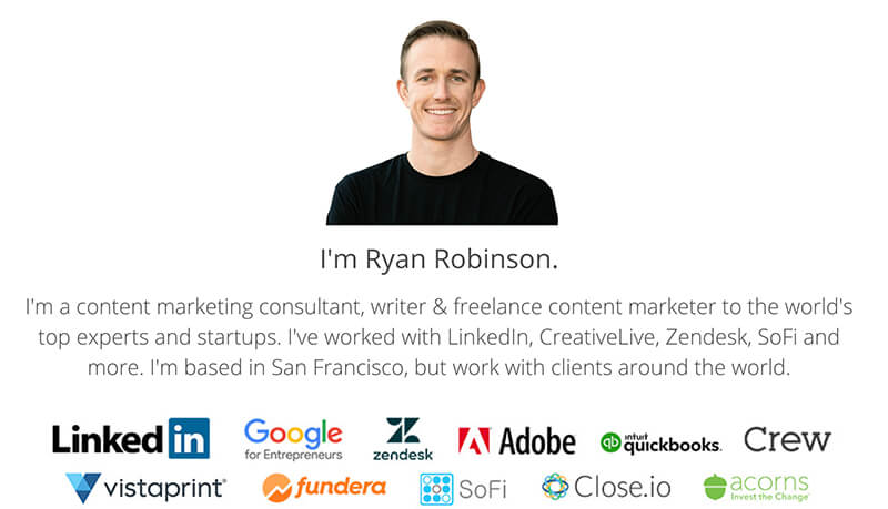How to Make Money from Your Blog as a Freelancer (Ryan Robinson Screenshot of Freelance Sales Page)