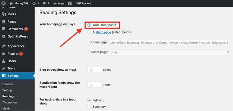 WordPress Blog Setting Your Homepage Tutorial