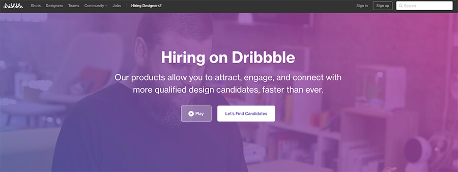 Dribbble Hiring Online Business Tool