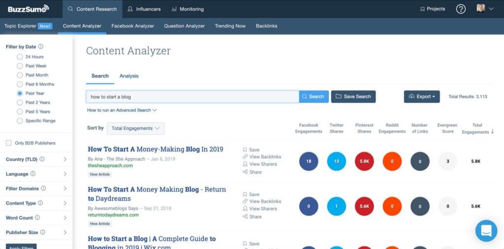 Buzzsumo Top Blogging Tools for Marketers