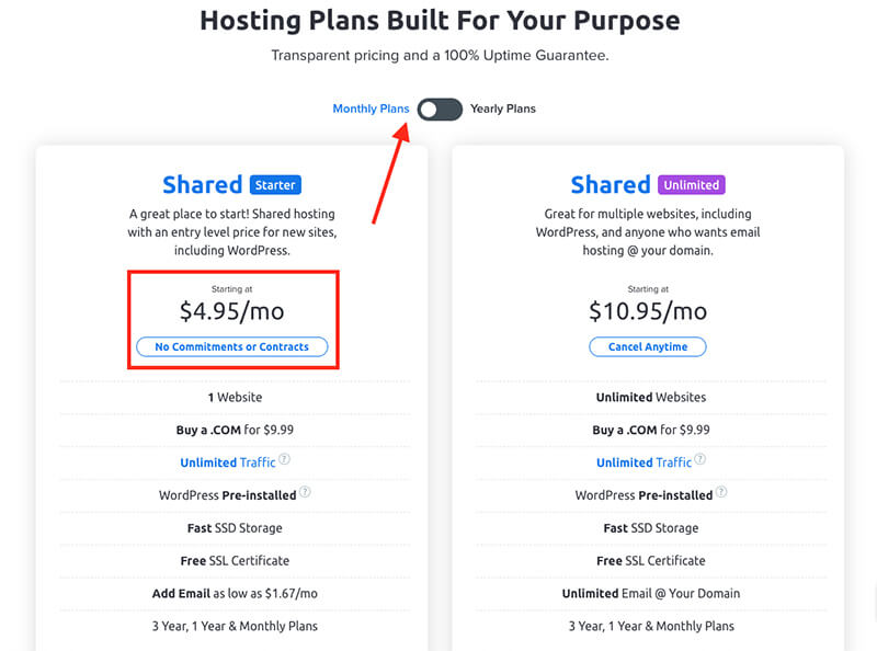 Dreamhost Plan Options for Monthly Billed Web Hosting Month-to-Month Payments