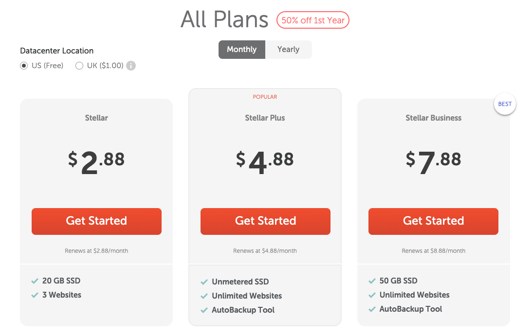 Namecheap Monthly Web Hosting Payment Plans Pricing Screenshot