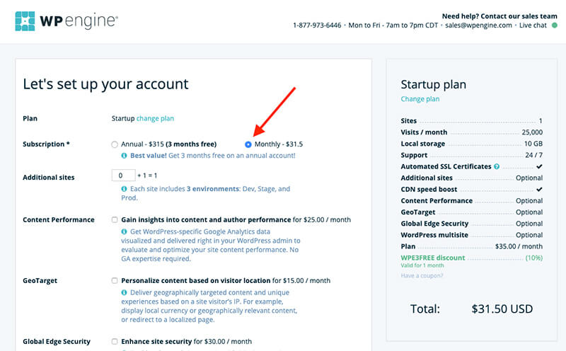 WP Engine Screenshot of Selecting Monthly Hosting Plan Option for Starting Up