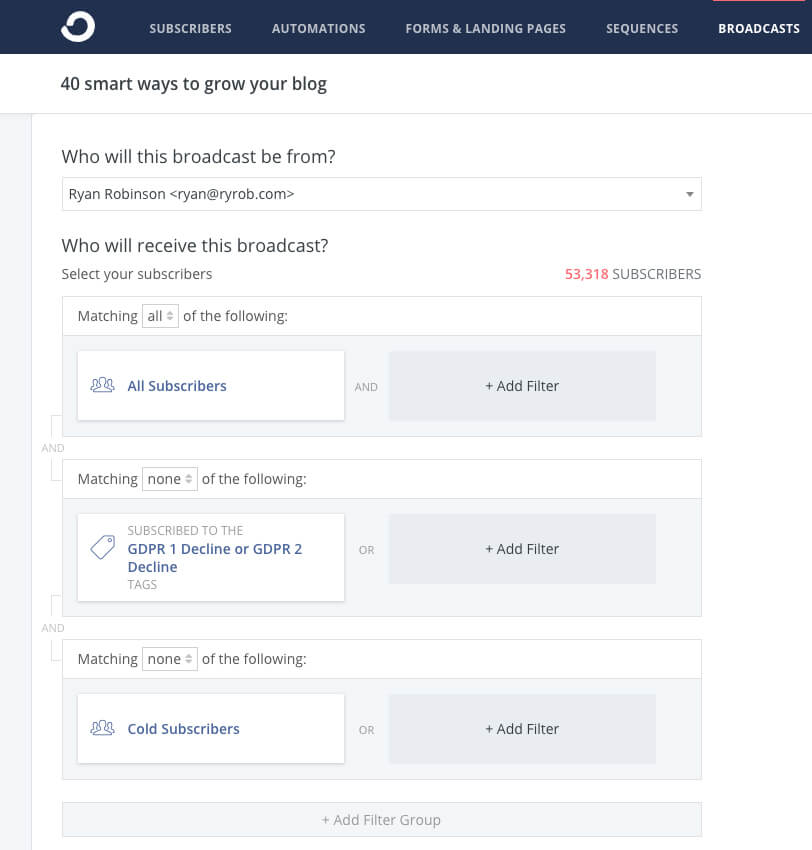 ConvertKit settings via email