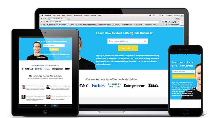 Come scegliere un costruttore di siti Web Ryan Robinson Blog Tema Screenshot Mobile Responsive