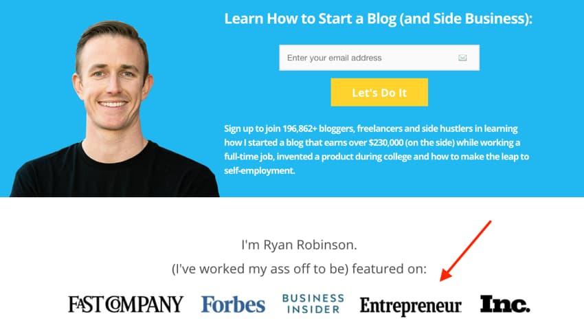 Schermata della home page di Ryan Robinson con siti su cui sono stato presentato (esempio)