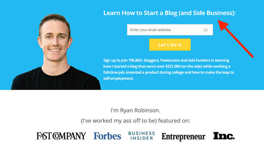 How to Make Money Blogging Ryan Robinson ryrob Homepage Screenshot Example