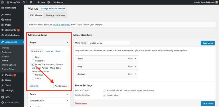 Come creare un menu del sito Web nella schermata di WordPress