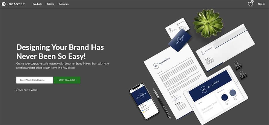 Logaster Blogging Tools to Create Logos Homepage Screenshot