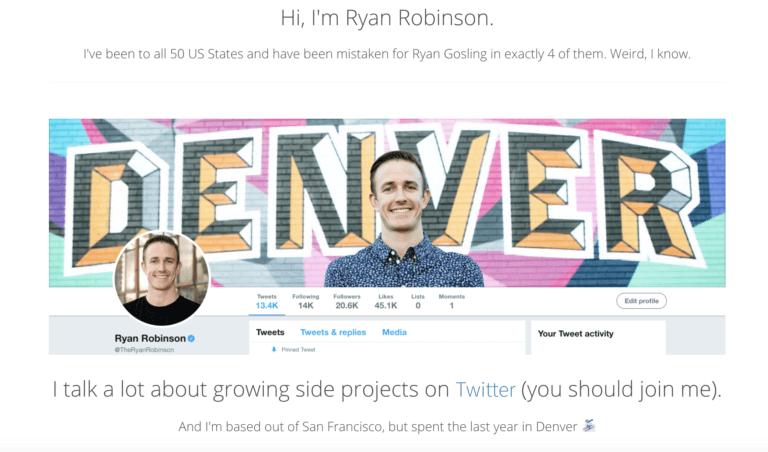 Crea un sito Web sull'esempio di pagina Ryan Robinson