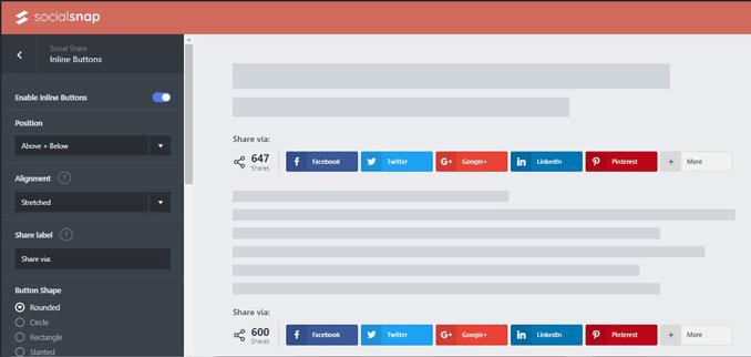 SocialSnap Customizable Share Widget Blogging Tool