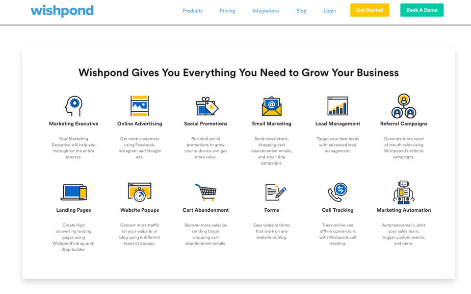 Wishpond Features and Homepage Screenshot for Blogging Tools List