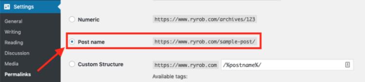 Impostazioni di WordPress Permalink per il tuo sito web