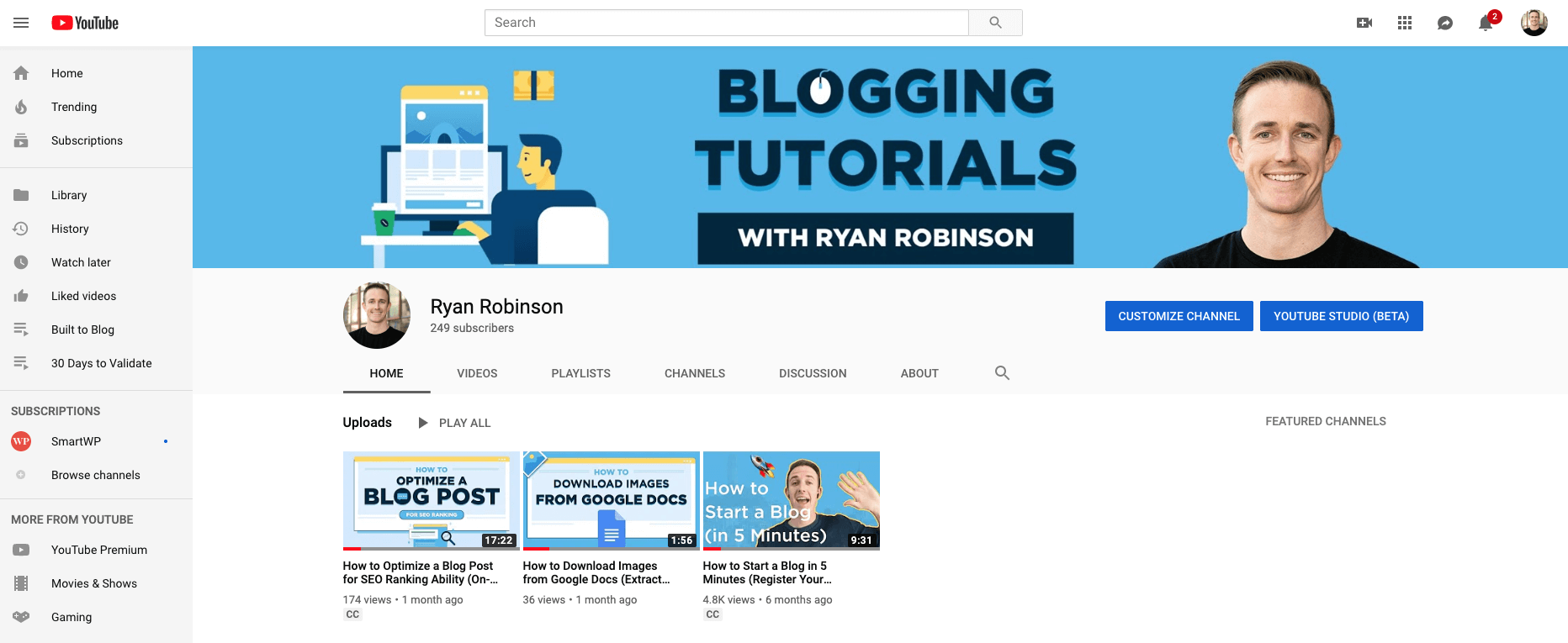 YouTube Channel Best Blogging Tools Ryan Robinson Screenshot
