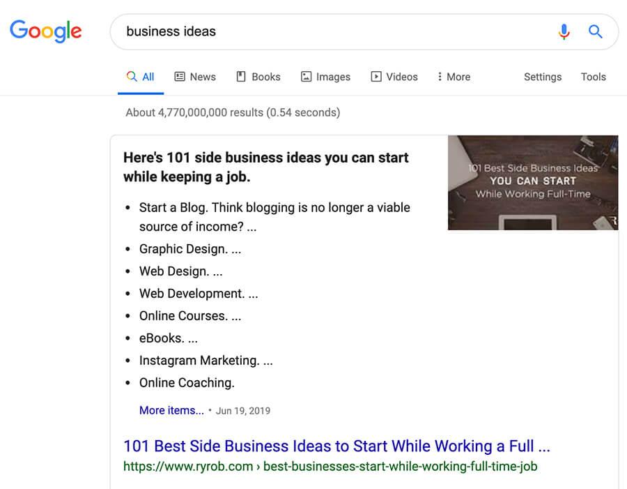 Esegui la ricerca di parole chiave per ottenere un esempio di idee di business in frammenti