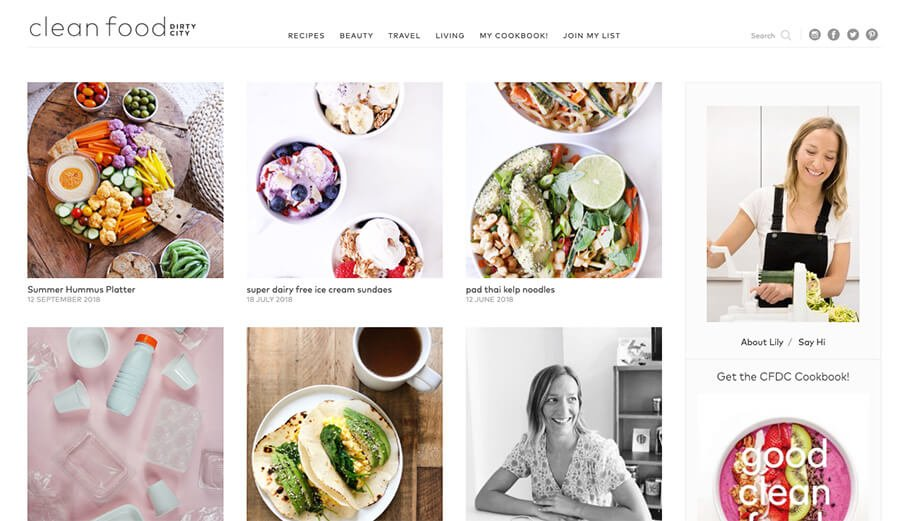 Example of Food Blogger Clean Food Dirty City Homepage
