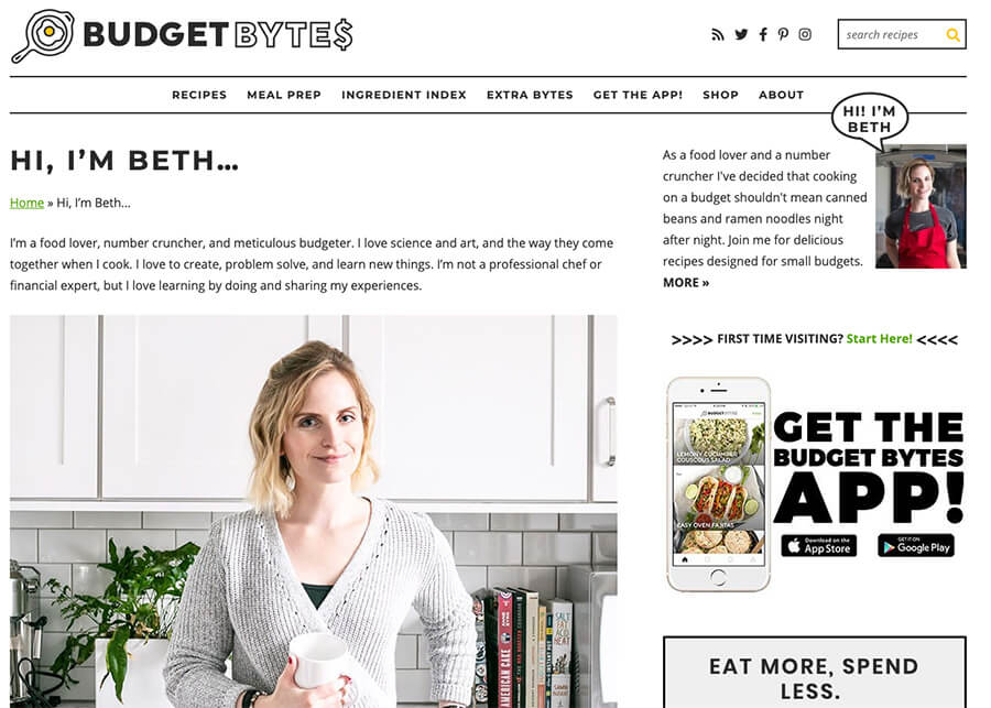 Food Blog About Page Budget Bytes with Beth