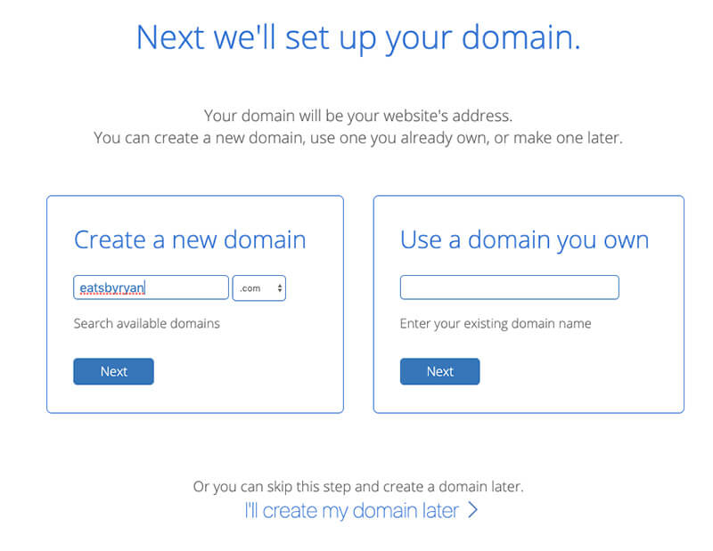 Food Blogging Pick Domain Name on Bluehost