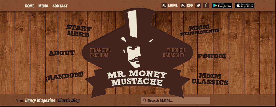 Divertente blog di finanza personale Mr Money Mustache Esempio di blog di nicchia