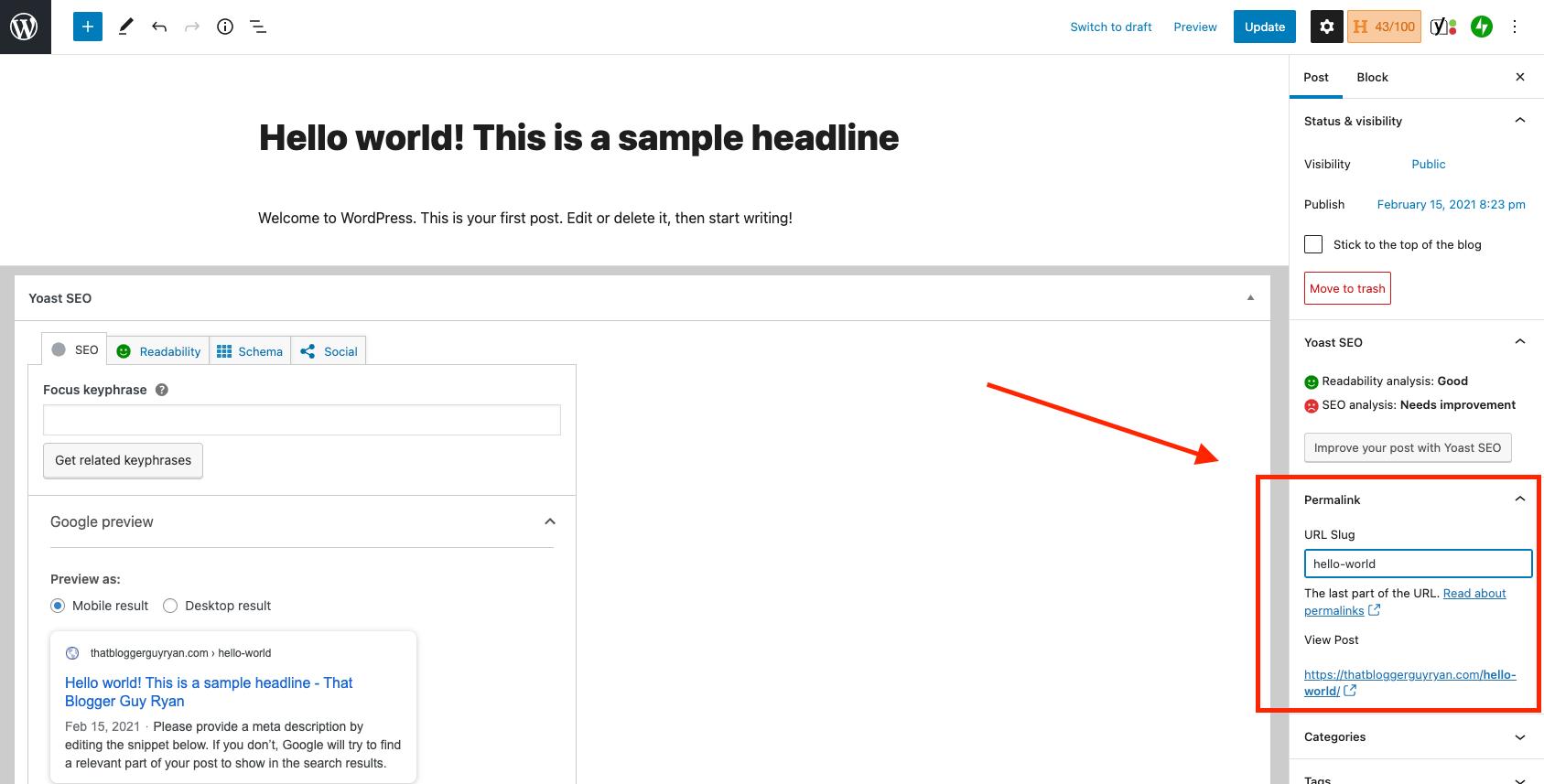 كيفية تغيير الرابط الثابت في WordPress (لقطة شاشة محرر جوتنبرج)