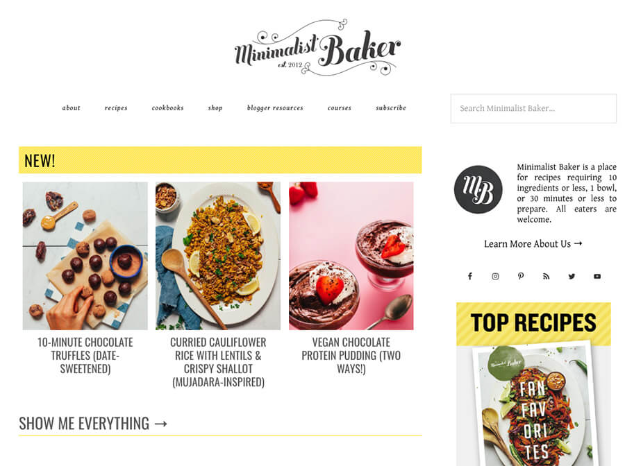 Minimalist Baker Example of How to Start a Food Blog Homepage