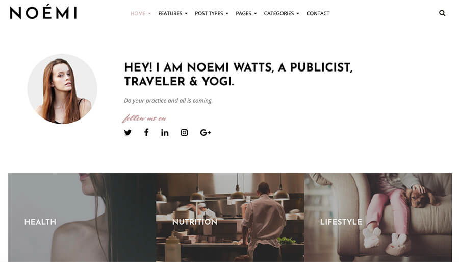 Noemi WordPress Theme for Lifestyle Bloggers