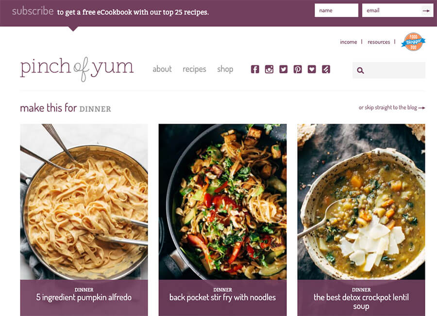 Pinch of Yum Food Blogger Homepage Example