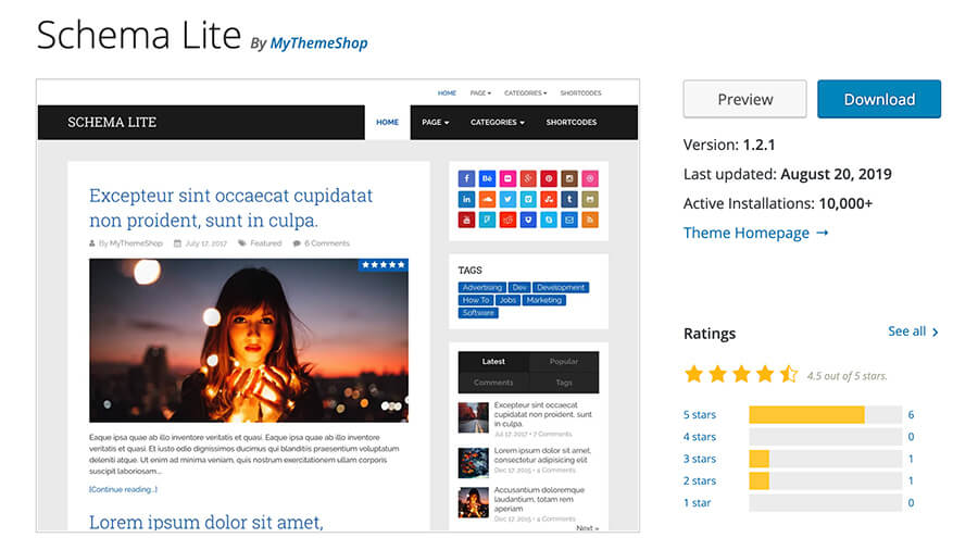 Schema Lite WordPress Theme for Bloggers