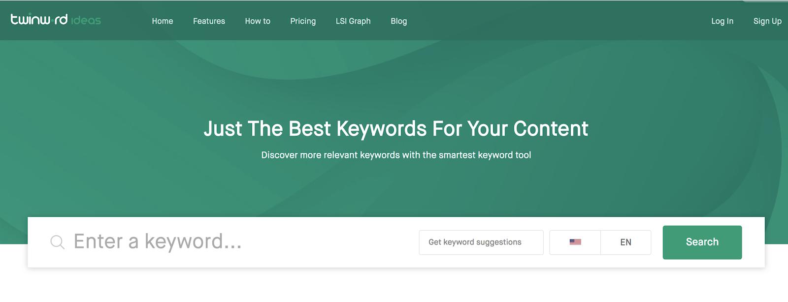 Twinword Ideas Strumento gratuito per la ricerca di parole chiave per i blogger