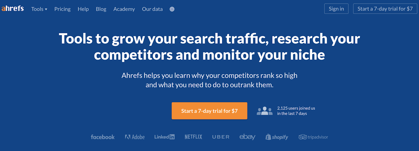 Screenshot della home page di Ahrefs Keyword Research Tool for Bloggers