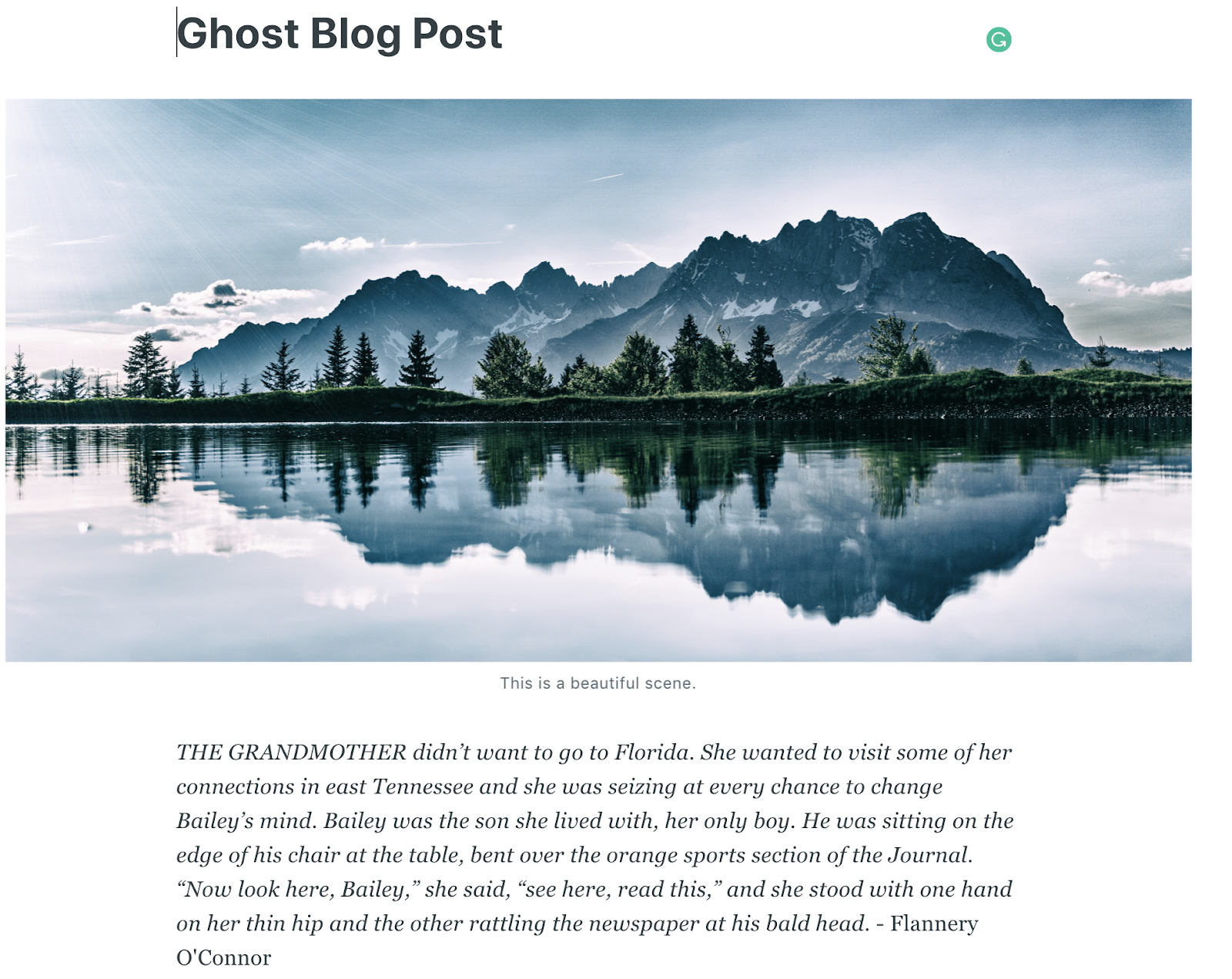 Ghost Screenshot of Free Blogging Platform Content Sample