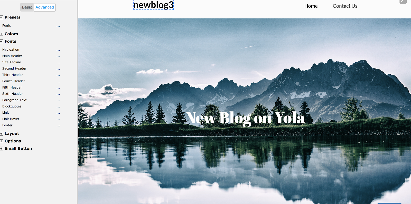 Yola Editor Example of a Free Blog Site in Progress