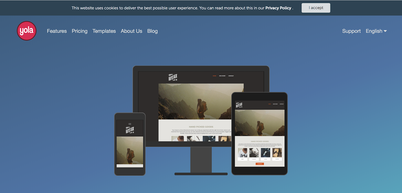 Yola Free Blogging Site Homepage Screenshot and Example