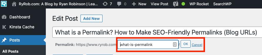 كيفية تغيير الرابط الثابت في WordPress (لقطة شاشة للمحرر الكلاسيكي)
