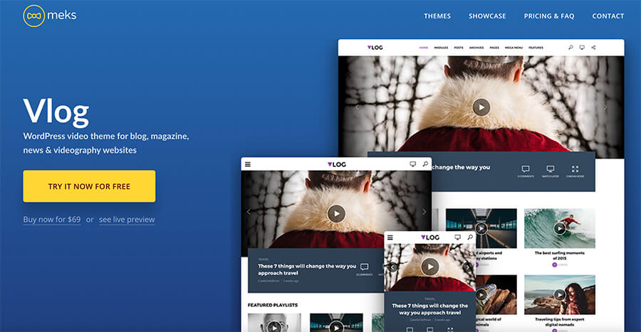Vlog WordPress Theme by Meks for Vloggers and Video Bloggers