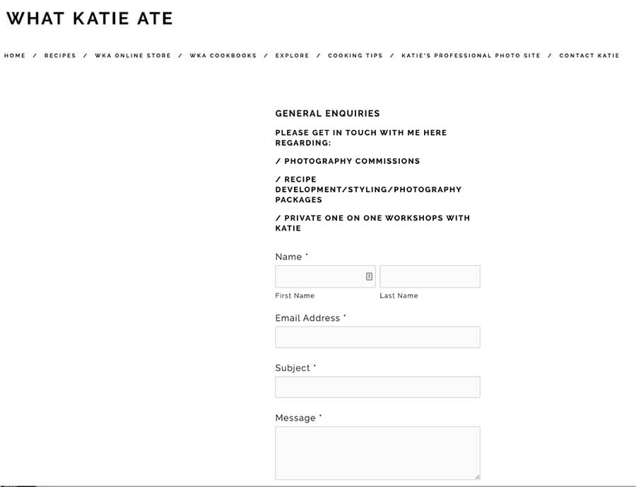 What Katie Ate Food Blogger Contact Page Example