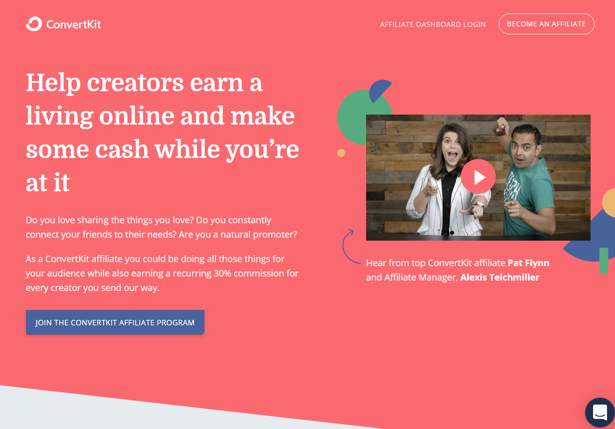 ConvertKit Affiliate Program Landing Page (Screenshot)