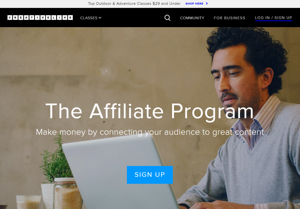 CreativeLive's Affiliate Program in Online Education (Screenshot)
